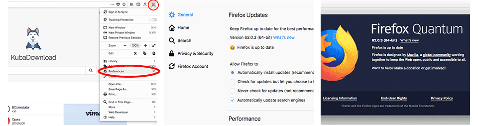 Mozilla Firefox Update Window