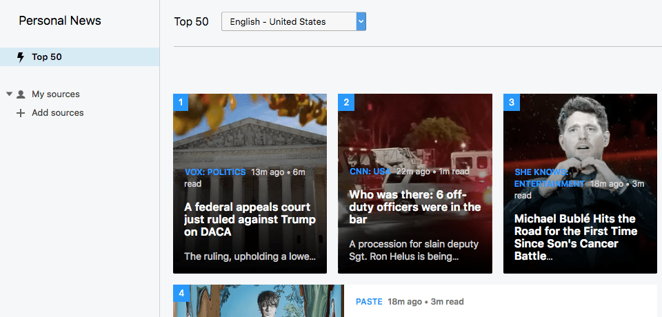 Opera News Reader. Top 50 news from United States Window