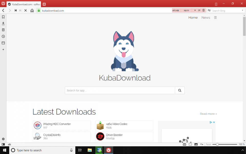 Vivaldi 2.0 running on Windows 10 screenshot