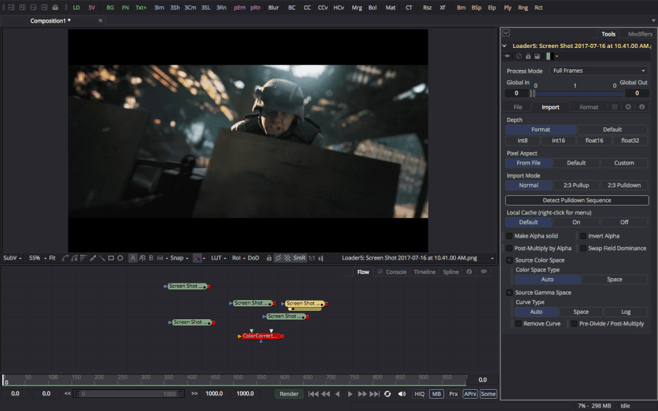 Screenshot of Blackmagic Fusion software running on Windows 10.