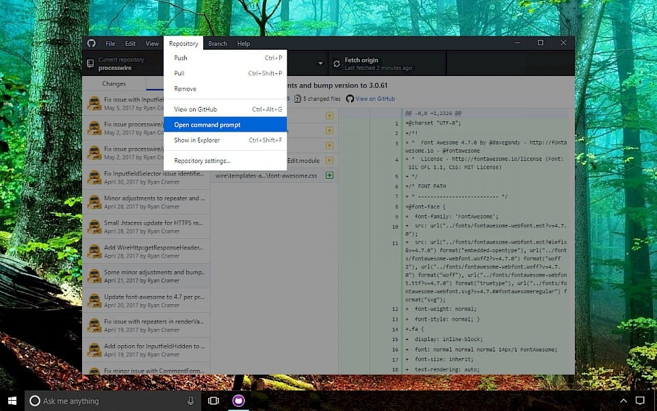 Screenshot of GitHub Desktop software running on Windows 10.