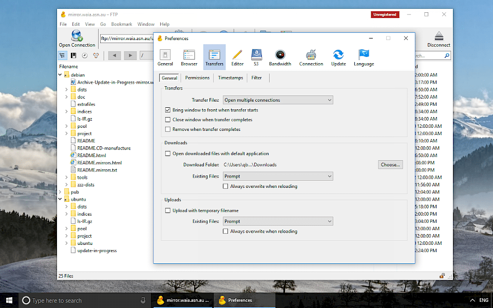 Screenshot of Cyberduck software running on Windows 10.