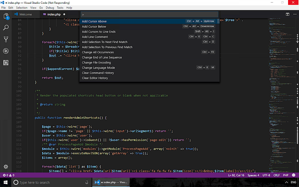 Screenshot of Visual Studio Code software running on Windows 10.