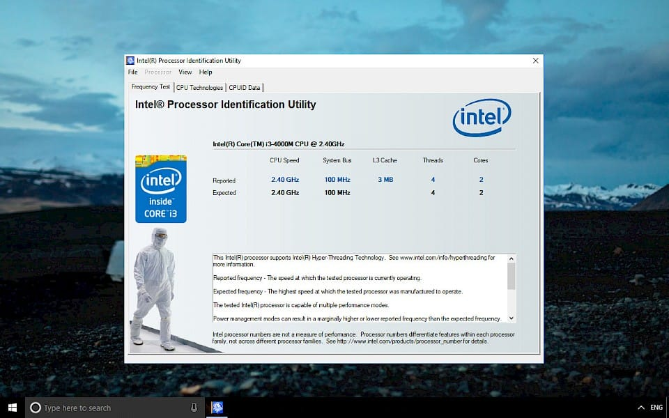 Screenshot of Intel Processor Identification Utility software running on Windows 10.