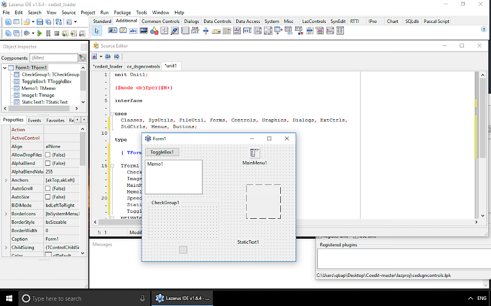 Screenshot of Lazarus software running on Windows 10.