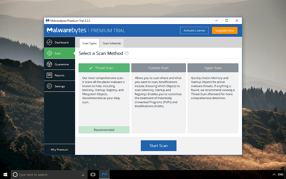 Screenshot of Malwarebytes Anti-Malware software running on Windows 10.