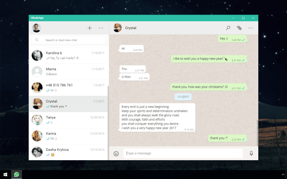 Screenshot of WhatsApp software running on Windows 10.