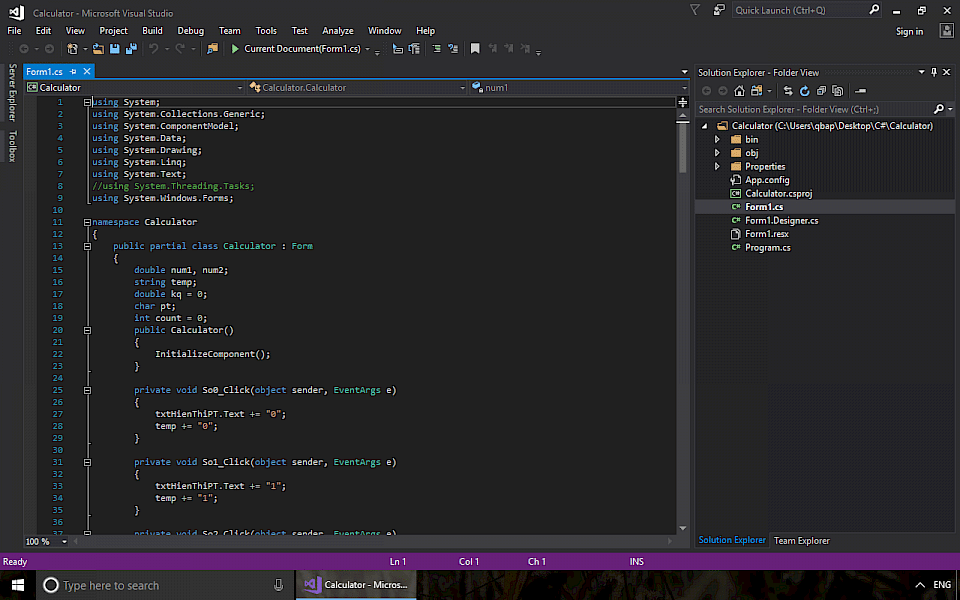 Screenshot of Visual Studio Community software running on Windows 10.