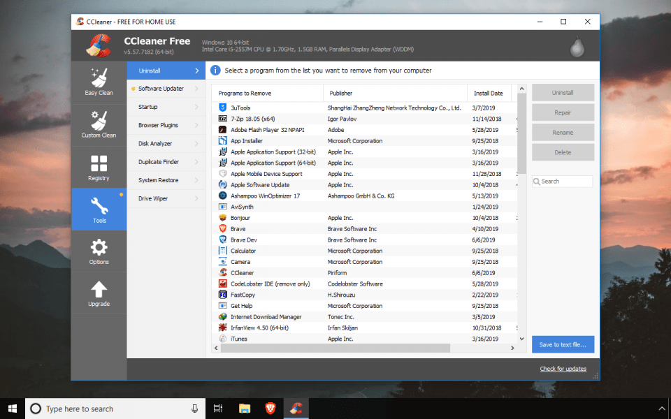 Tools in CCleaner Free app