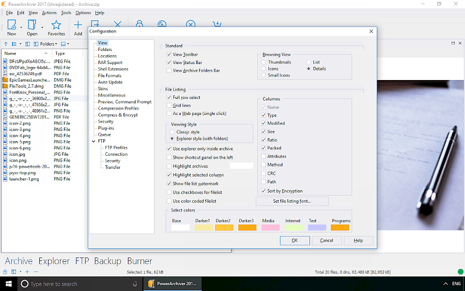 Screenshot of PowerArchiver software running on Windows 10.