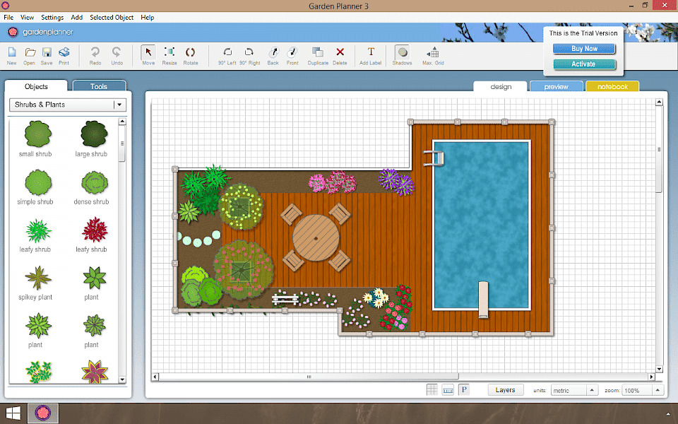 Screenshot of Garden Planner software running on Windows 10.