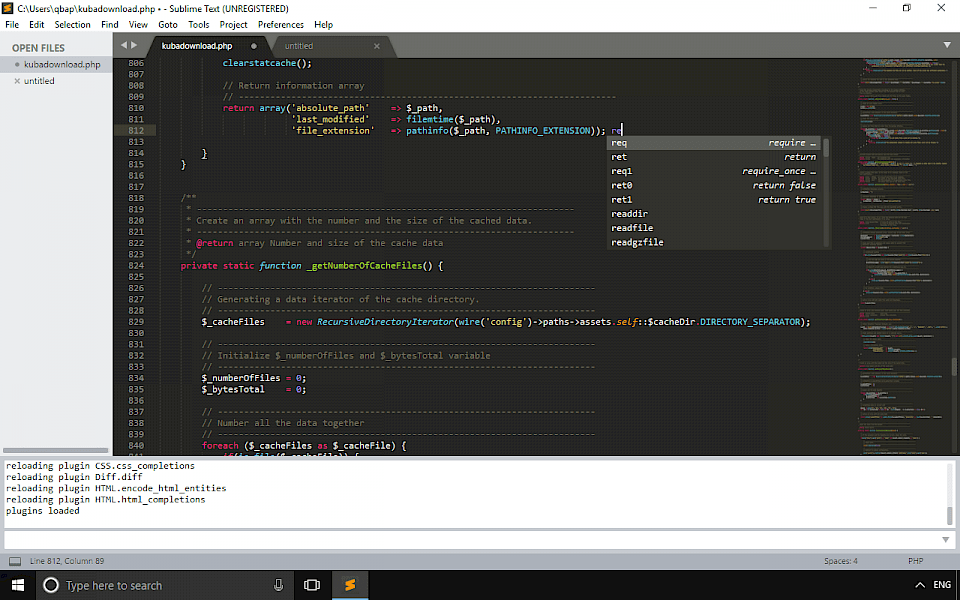 Screenshot of Sublime Text software running on Windows 10.