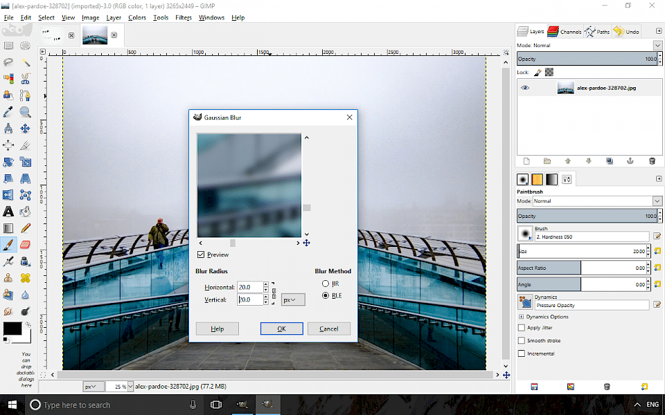 Screenshot of GIMP software running on Windows 10.