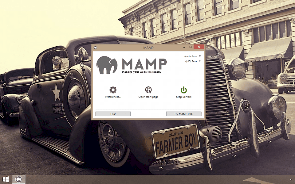 Screenshot of MAMP software running on Windows 10.