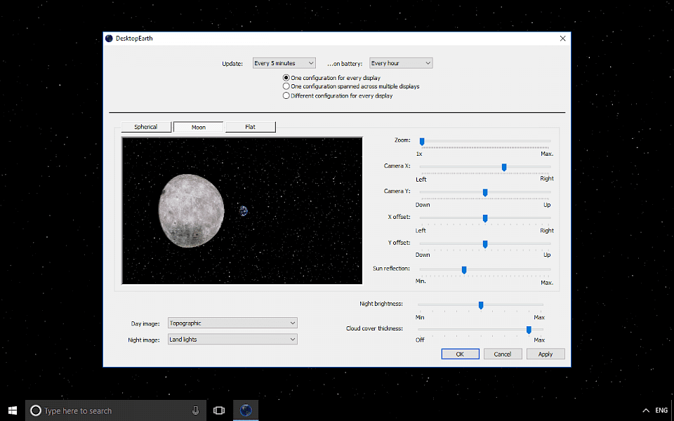 Screenshot of Desktop Earth software running on Windows 10.