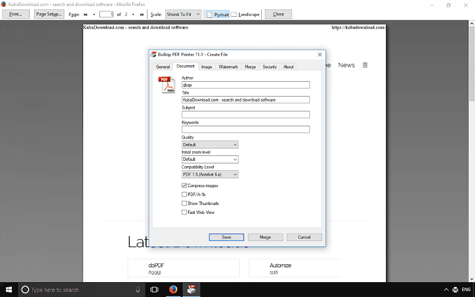 Screenshot of Bullzip PDF Printer software running on Windows 10.