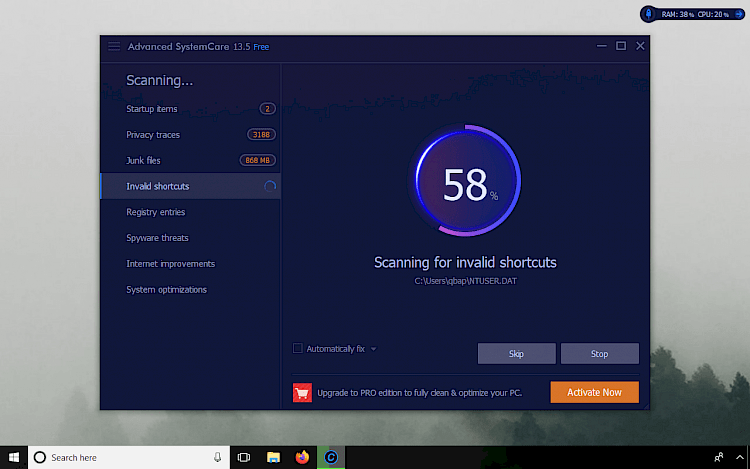 Advanced SystemCare Scan on Windows 10