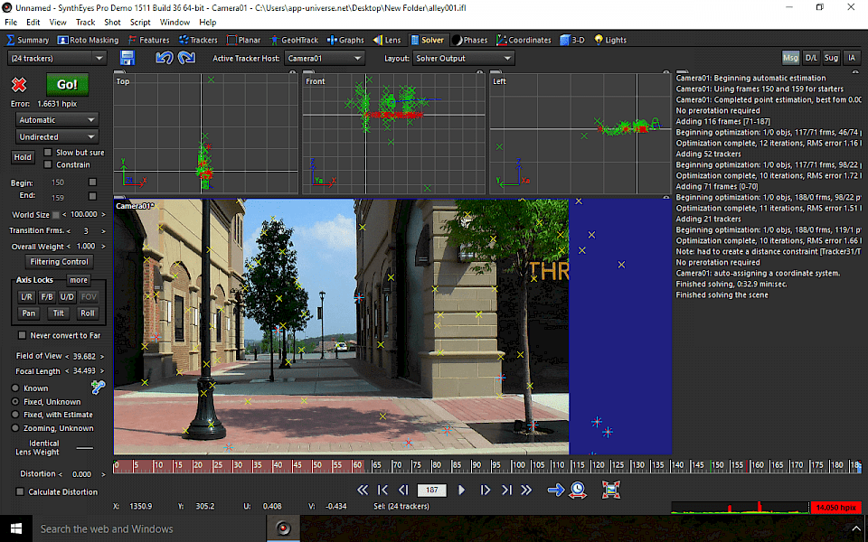 Screenshot of SynthEyes Pro software running on Windows 10.