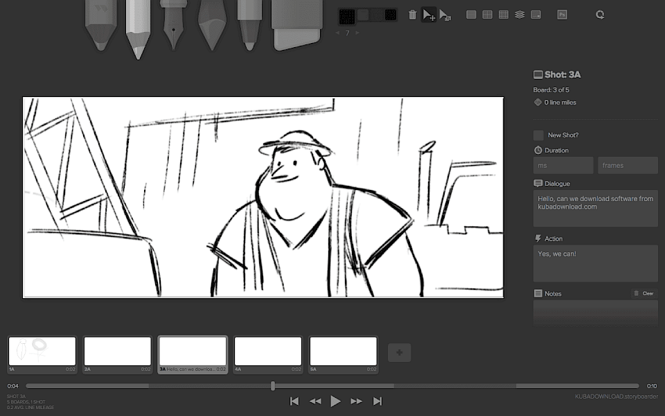 Screenshot of Storyboarder software running on Windows 10.