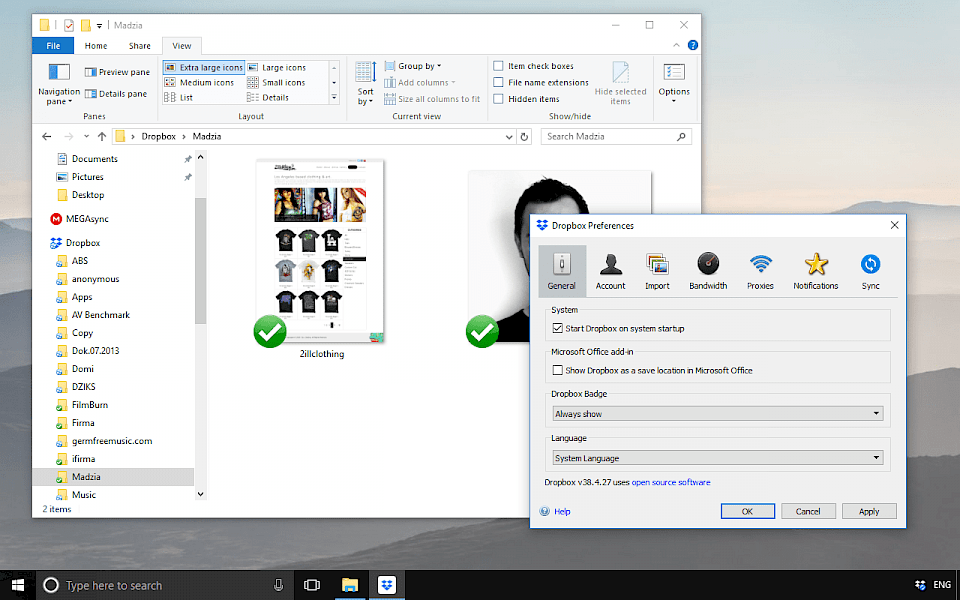 Screenshot of Dropbox software running on Windows 10.