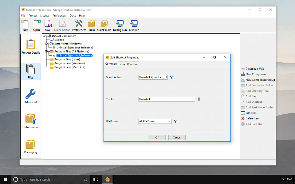 Screenshot of InstallBuilder software running on Windows 10.