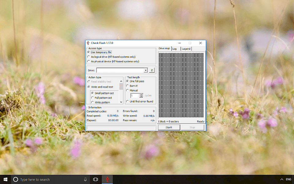 Screenshot of Check Flash software running on Windows 10.