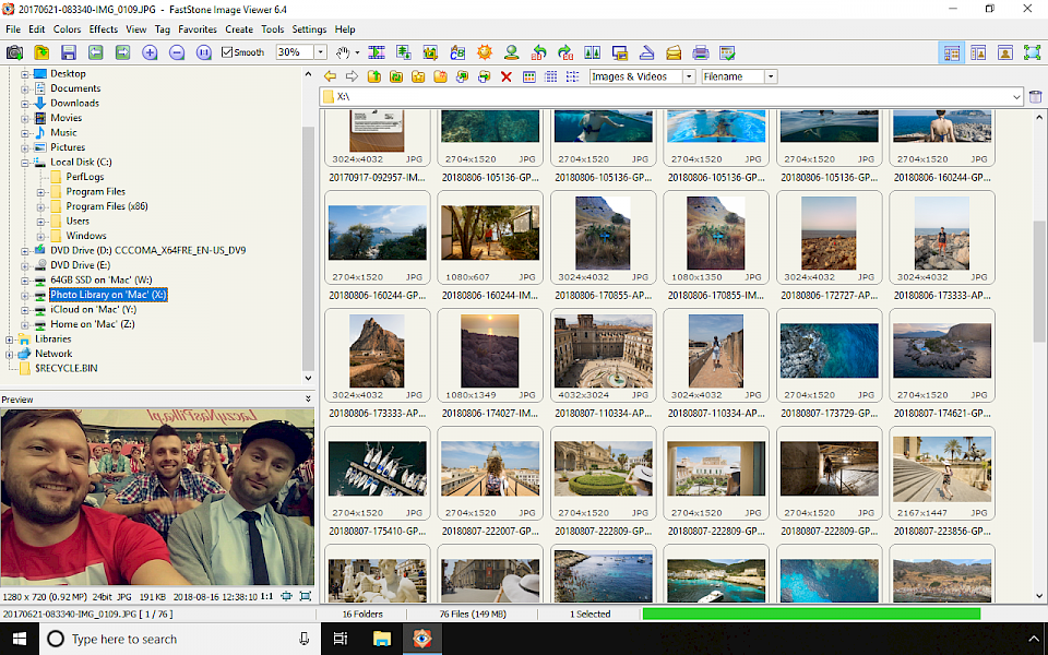 FastStone Image Viewer screenshot Windows 10