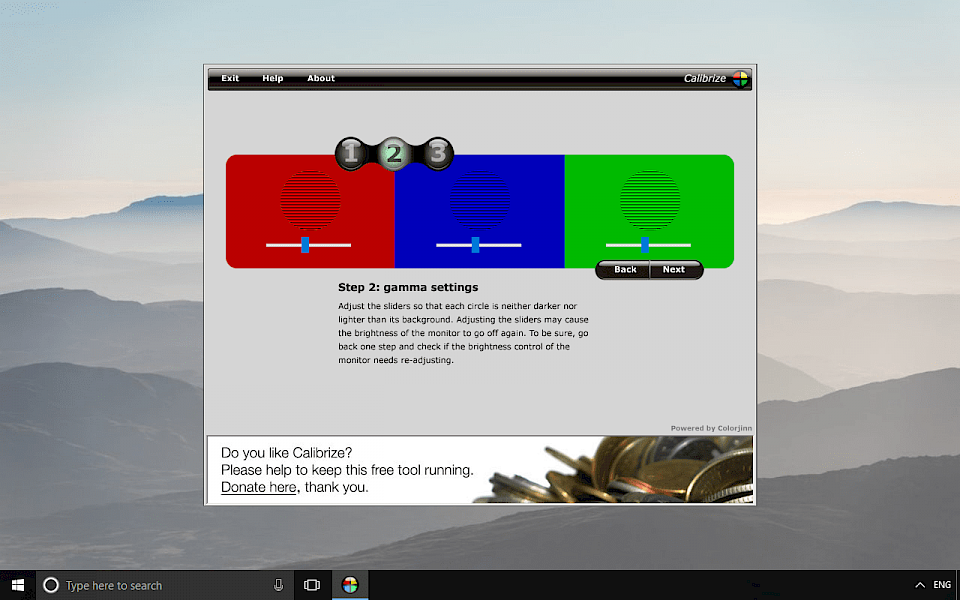 Screenshot of Calibrize software running on Windows 10.