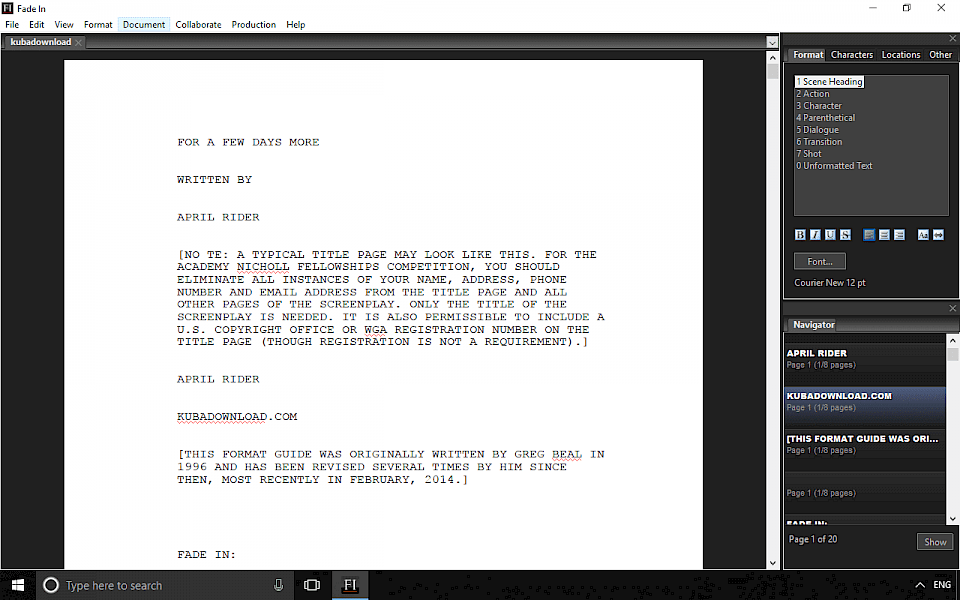 Free Fade In download, the screenwriting software