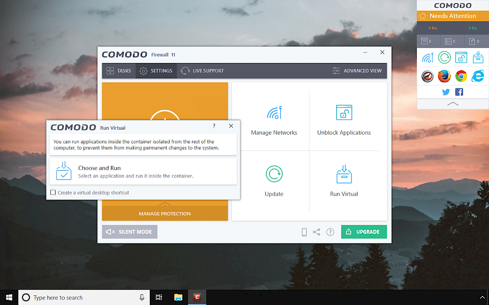 Comodo Personal Firewall Advanced View Window