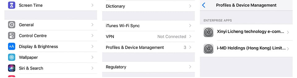 iOS Profiles & Devices Management from iPhone