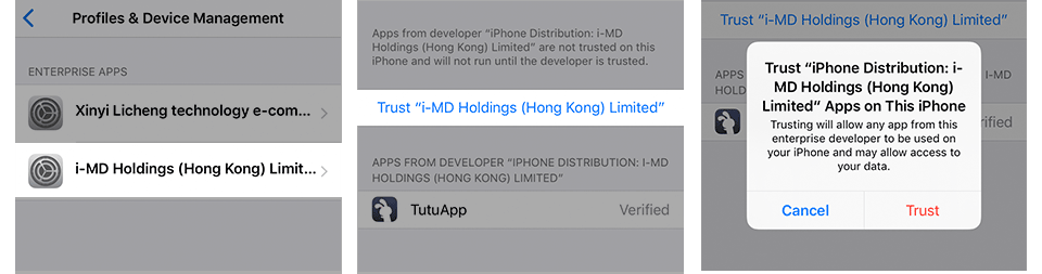 Trust Untrusted Developer on iPhone