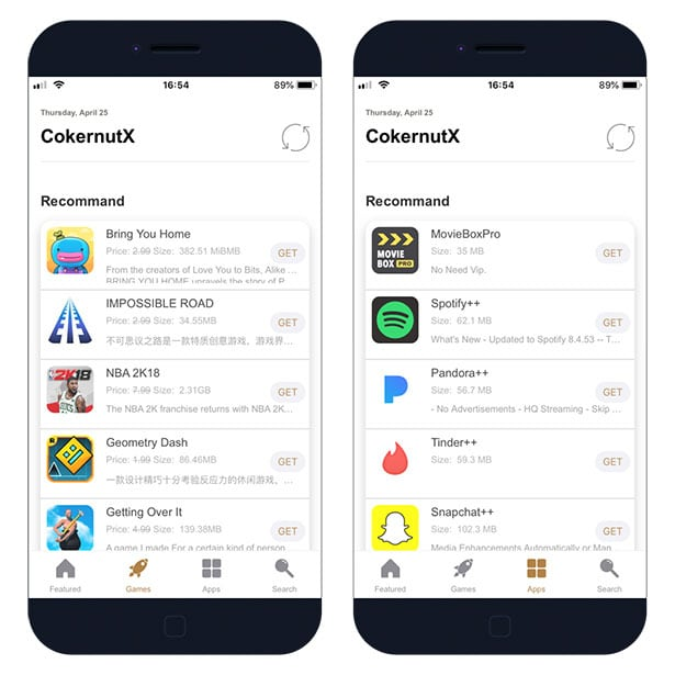 CokernutX new App Store to download iOS apps for free