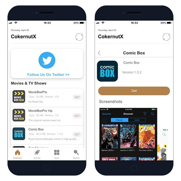 CokernutX App for iOS. Apps, List, and Search screenshot.