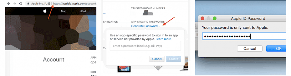 Generate App-Specyfic password from Apple
