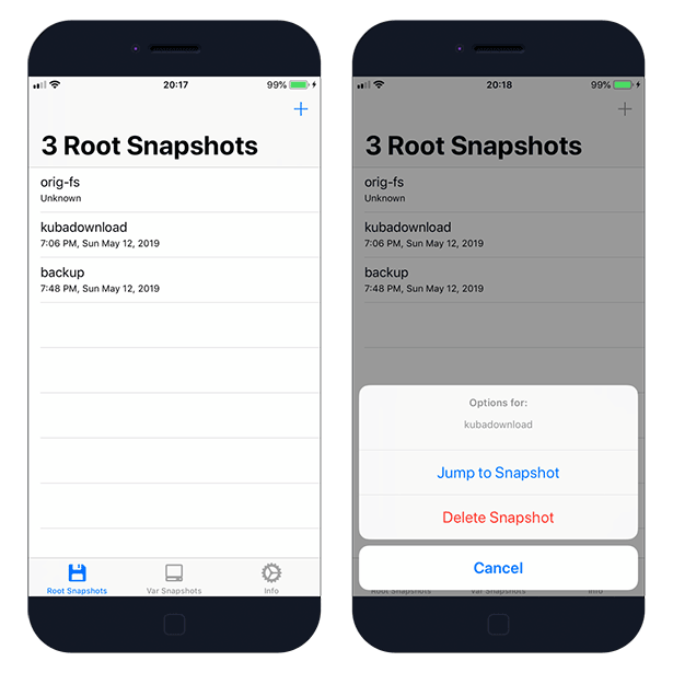 SnapBack - APFS Snapshot manager for iOS 12