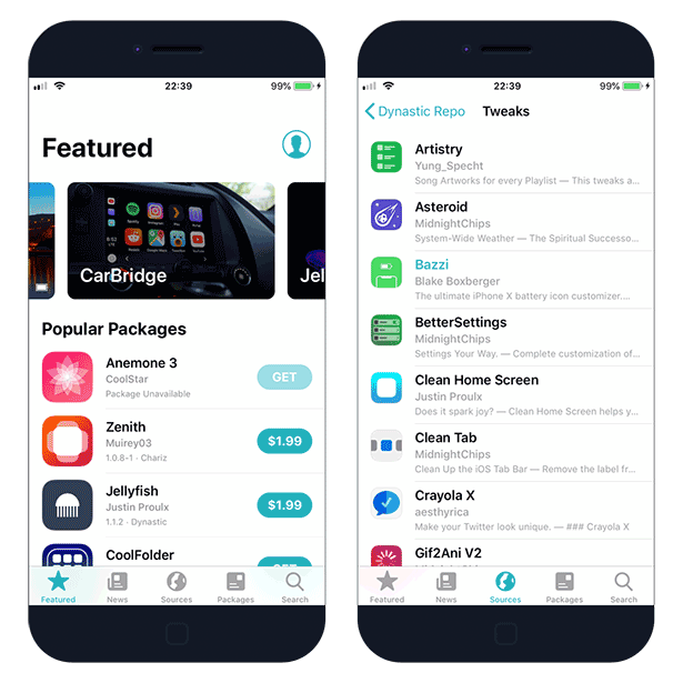 Sileo Package Manager on iOS 12