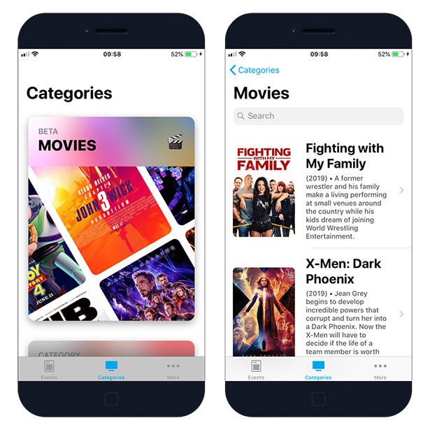 Channels App for iOS with movies