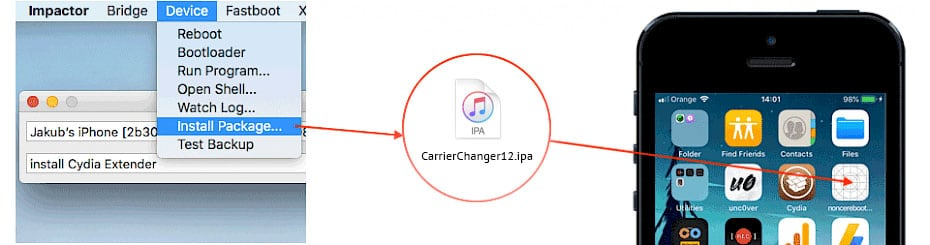 Install CarrierChanger12 IPA with Cydia Impactor