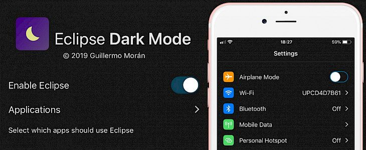 Eclipse 12 Dark Mode jailbreak theme for iOS
