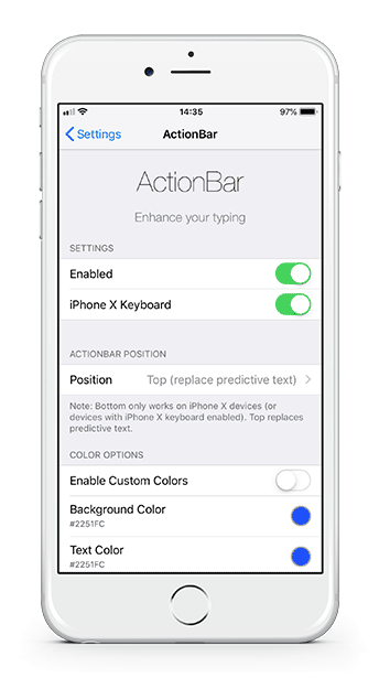 ActionBar keyboard tweak for iOS 12