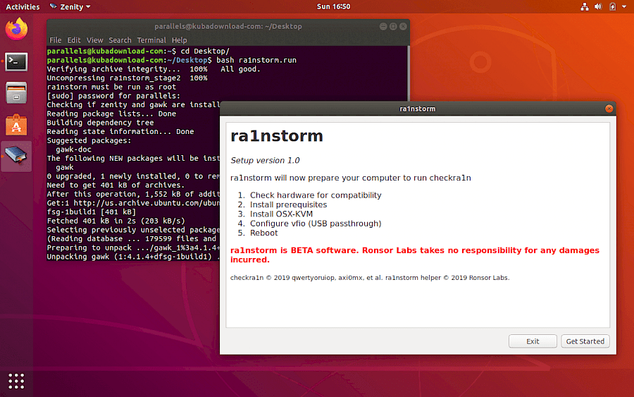 ra1nstorm on Linux