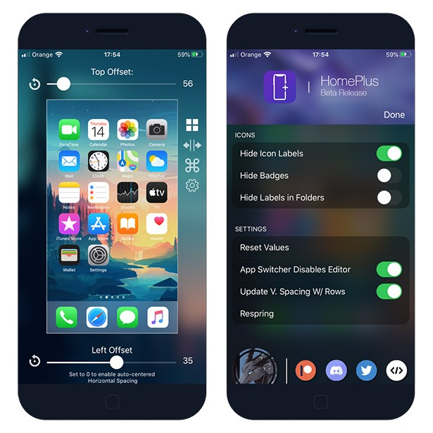 HomePlus Cydia tweak for iOS