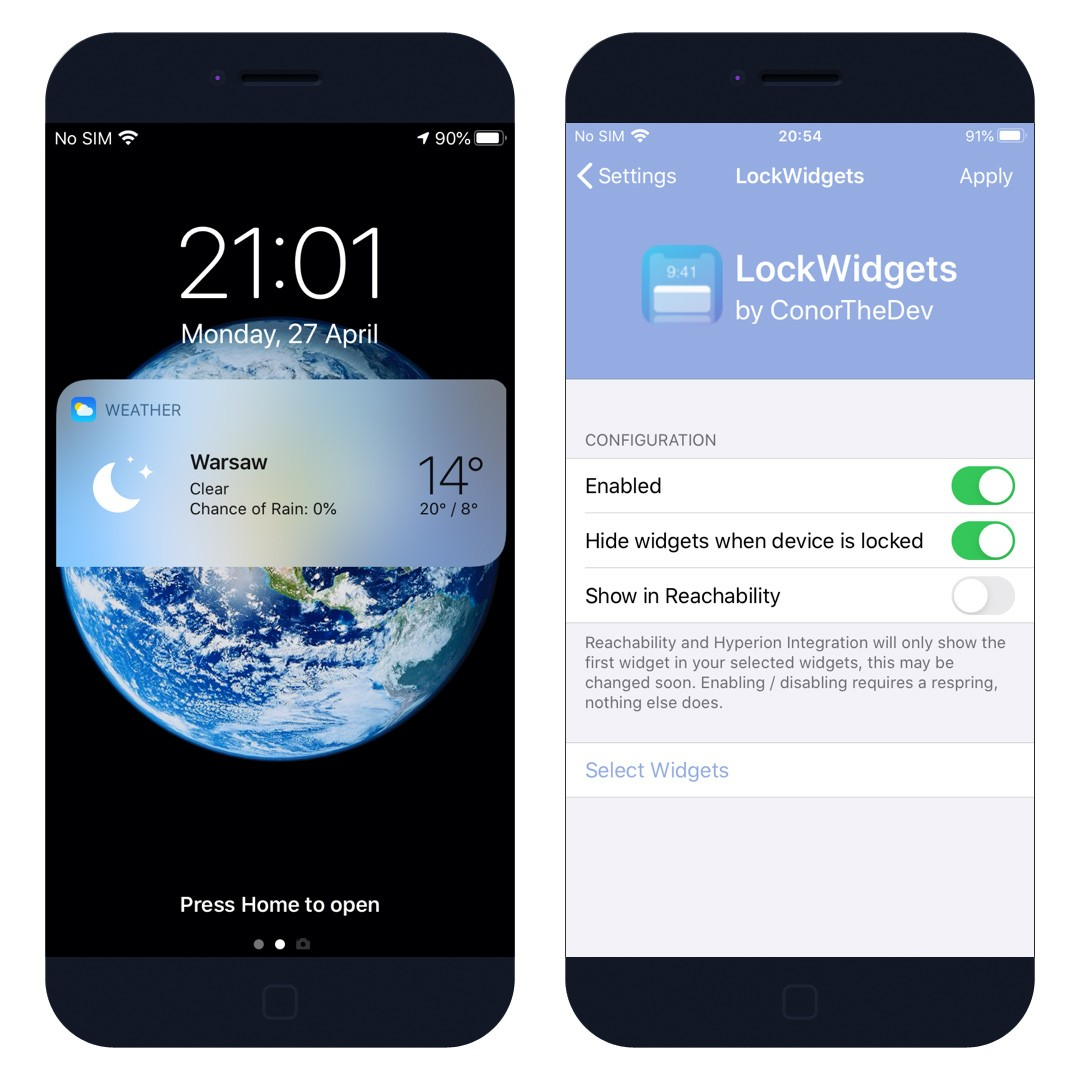 LockWidgets Cydia Tweak