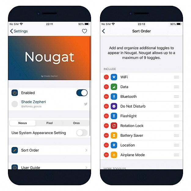 Nougat tweak Settings on iOS