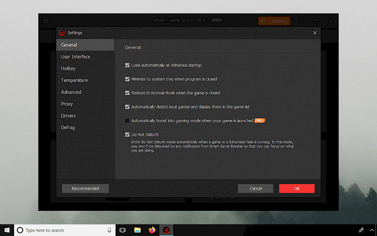 Smart Game Booster Settings