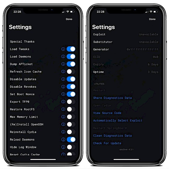 Unc0ver settings on iOS 13