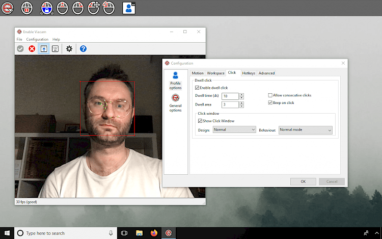 Enable Viacam Configuration Window