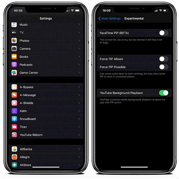 Titan tweak Settings