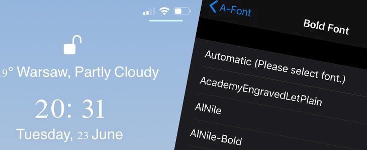 A-Font tweak customizes iOS fonts